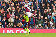 Aston Villa midfielder Albert Adomah (37) battles with Derby County striker Andre Wisdom (14) during the EFL Sky Bet Championship match between Aston Villa and Derby County at Villa Park, Birmingham, England on 28 April 2018. Picture by Jon Hobley.