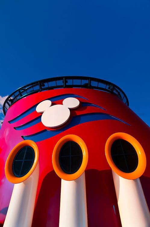 Smoke stack, Disney Dream cruise ship, Disney Cruise Line, sailing between Florida and the Bahamas