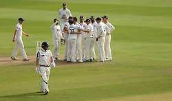 Yorkshire's Gary Ballance walks of the field after bowled for an LBW by Essex Sam Cook during day three of the Specsavers County Championship, Division One match at the Cloudfm County Ground, Chelmsford.