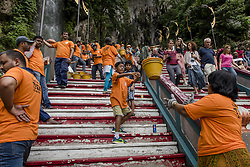 August 26, 2017 - Kuala Lumpur, MALAYSIA - Two hundreds of Hindu devotees from South India carrying of construction materials to the top for temple construction at the holy place Batu Caves in Kuala Lumpur, Malaysia on August 26, 2017 (Credit Image: © Chris Jung via ZUMA Wire)