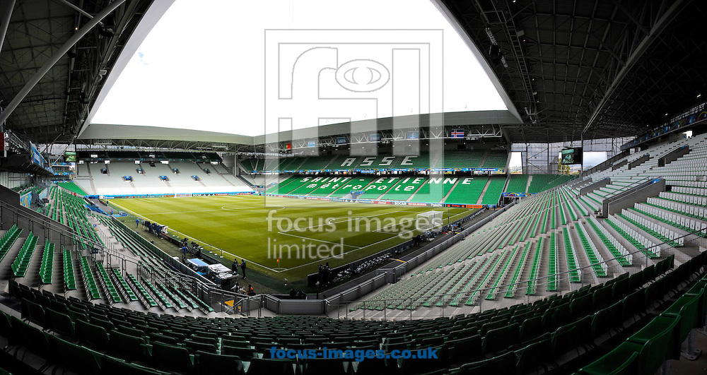 ** NOTE TO EDITORS - THIS IMAGE HAS BEEN STITCHED TOGETHER WITH SOFTWARE ** General view of the stadium pictured ahead of the UEFA Euro 2016 match at Stade Geoffroy-Guichard, Saint-&Eacute;tienne, France<br /> Picture by Kristian Kane/Focus Images Ltd 07814482222<br /> 14/06/2016