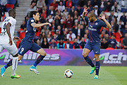 Lucas Rodrigues Moura da Silva (psg) let the ball for Edinson Roberto Paulo Cavani Gomez (psg) (El Matador) (El Botija) (Florestan) for a kick during the French Championship Ligue 1 football match between Paris Saint-Germain and SM Caen on May 20, 2017 at Parc des Princes stadium in Paris, France - Photo Stephane Allaman / ProSportsImages / DPPI