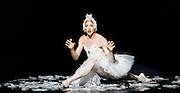 Les Ballets Trockadero de Monte Carlo <br /> at the Peacock Theatre, London, Great Britain <br /> press photocall <br /> 16th September 2015 <br /> <br /> <br /> Programme 1<br /> press night 16th September 2015 <br /> <br /> Dying Swan <br /> <br /> Joshua Thake as Eugenia Repelskii <br /> <br /> <br /> <br /> Photograph by Elliott Franks <br /> Image licensed to Elliott Franks Photography Services