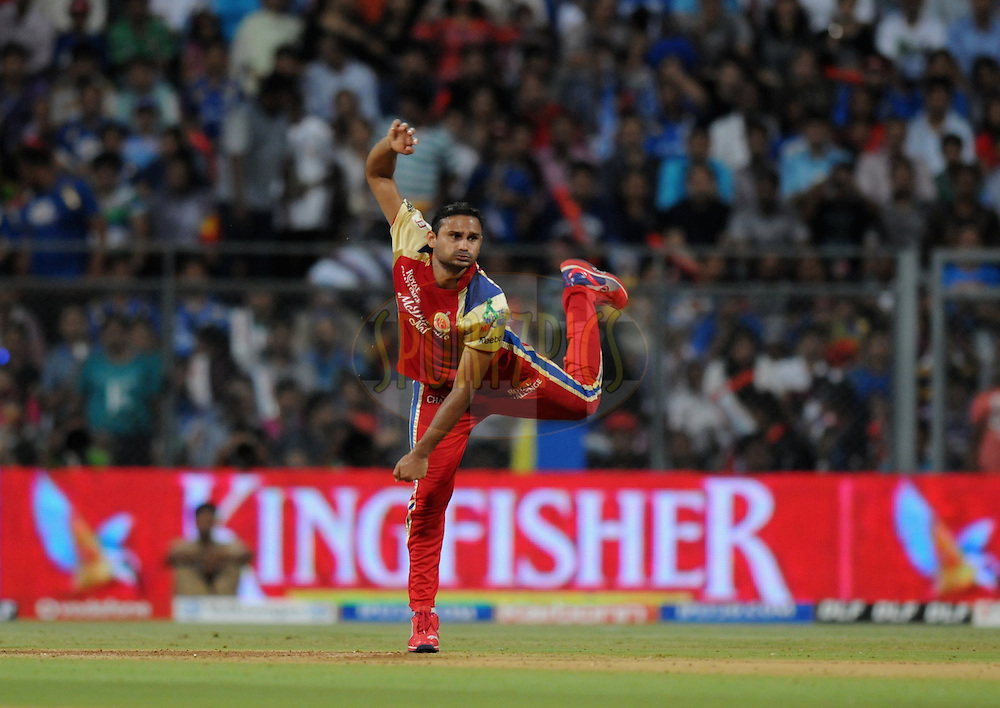 Syed Mohammed of Royal Challengers Bangalore bowls during match 54 of the Indian Premier League ( IPL) 2012  between The Mumbai Indians and the Royal Challengers Banglore held at the Wankhede Stadium in Mumbai on the 9th May 2012..Photo by Pal Pillai/IPL/SPORTZPICS.