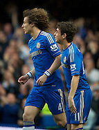 Picture by Alan Stanford/Focus Images Ltd +44 7915 056117.08/05/2013.Oscar of Chelsea celebrates with David Luiz after scoring during the Barclays Premier League match at Stamford Bridge, London..