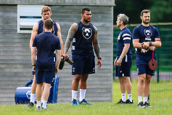 Dave Attwood, Nathan Hiughes and Luke Morahan look on during week 1 of Bristol Bears pre-season training ahead of the 19/20 Gallagher Premiership season - Rogan/JMP - 03/07/2019 - RUGBY UNION - Clifton Rugby Club - Bristol, England.