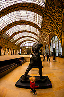 "Sculptures,Musee d""Orsay,  a museum in Paris, France, on the Left Bank of the Seine. It is housed in the former Gare d'Orsay, a Beaux-Arts railway station built between 1898 and 1900."