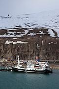 Ship alongside in the port of Longyearbyen, Spitsbergen, in the archipelago of Svalbard.