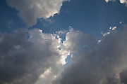 Billowing clouds against blue sky, Yorktown, Virginia