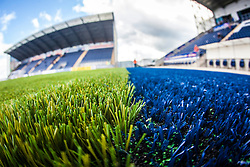 A landscape image taken with a fish-eye lens showing the the new pitch work at The Falkirk Stadium, with the new pitch work for the Scottish Championship game v Morton. The woven GreenFields MX synthetic turf and the surface has been specifically designed for football with 50mm tufts compared with the longer 65mm which has been used for mixed football and rugby uses.  It is fully FFA two star compliant and conforms to rules laid out by the SPL and SFL.<br />