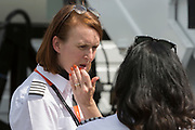 Women EasyJet pilots at the Farnborough Airshow, on 18th July 2018, in Farnborough, England.