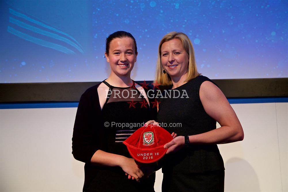 NEWPORT, WALES - Saturday, May 27, 2017: Deanna Lewis receives her Under-16 Wales cap from Wales women's team manager Jayne Ludlow at the Celtic Manor Resort. (Pic by David Rawcliffe/Propaganda)