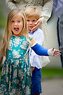 19-7-2015 GRASTEN - Crown Prince Frederik and Crown Princess Mary attended with children Prince Christian Princess Isabella, Prince Vincent and Princess Josephine a horse parade at Grasten Slot  during the horse parade COPYRIGHT ROBIN UTRECHT