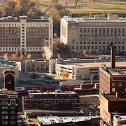 View of Kansas City's Crossroads District, taken from top of downtown Kansas City's Power and Light Building.