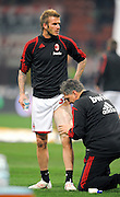 David Beckham of AC Milan warms up before the Serie A match between AC Milan and Genoa CFC at Stadio Giuseppe Meazza on January 6, 2010 in Milan, Italy.