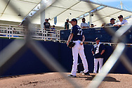 PHOENIX, AZ - MARCH 04:  Zach Davies #27 of the Milwaukee Brewers warms up priot to the spring training game against the Texas Rangers at Maryvale Baseball Park on March 4, 2017 in Phoenix, Arizona.  (Photo by Jennifer Stewart/Getty Images)