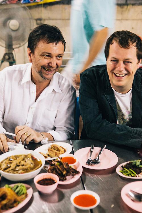 David Thompson and Tom Parker-Bowles at Laab/larb restaurant, Bangkok