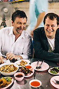 David Thompson and Tom Parker-Bowles at Laab/larb restaurant, Bangkok