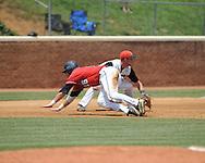 Mississippi's Matt Smith (16) is safe at third on Matt Snyder's hit vs. St. John'svs. St. John's during an NCAA Regional game at Davenport Field in Charlottesville, Va. on Sunday, June 6, 2010.