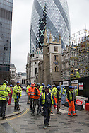 Builders working in the City of London.