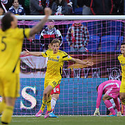 Aaron Schoenfeld, (centre), Columbus Crew, celebrates the second of his two goals in his sides 3-1 win during the New York Red Bulls Vs Columbus Crew, Major League Soccer regular season match at Red Bull Arena, Harrison, New Jersey. USA. 19th October 2014. Photo Tim Clayton