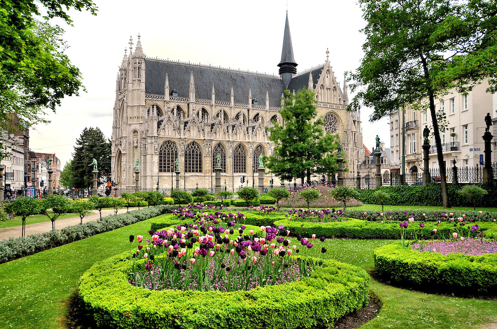 Church of Our Lady Sablon and Petit Sablon Square in Brussels, Belgium<br />