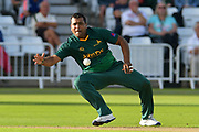 Samit Patel fields off his own bowling during the Natwest T20 Blast North Group match between Nottinghamshire County Cricket Club and Worcestershire County Cricket Club at Trent Bridge, West Bridgford, United Kingdom on 26 July 2017. Photo by Simon Trafford.