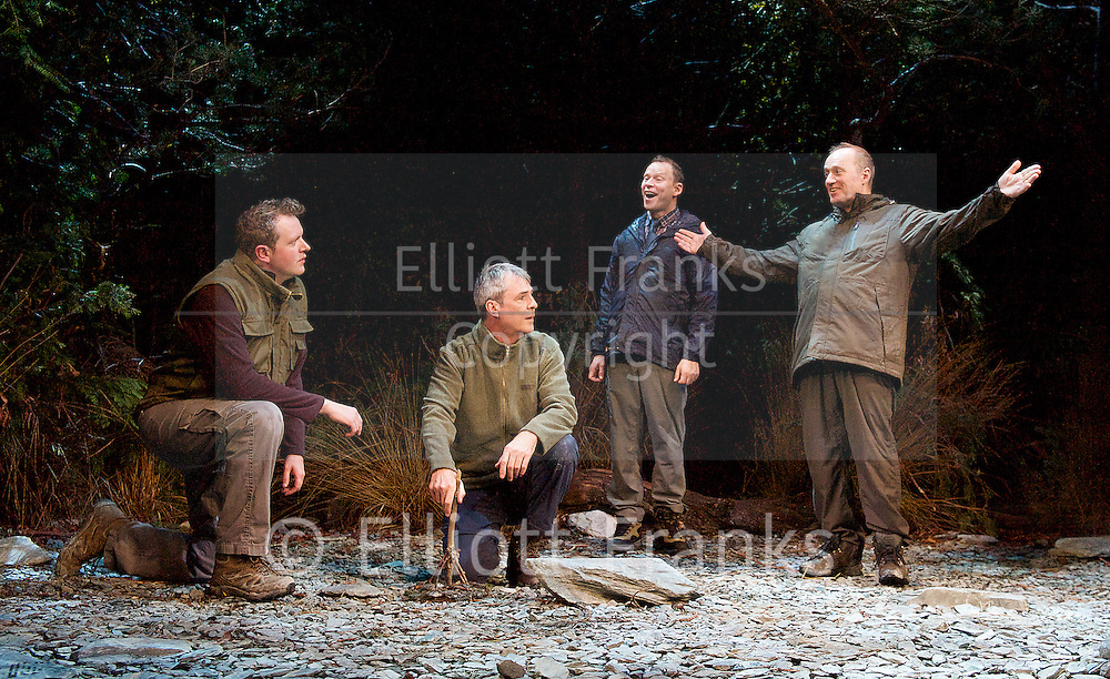 Neville's Island <br /> by Tim Firth <br /> at Duke of York's Theatre, London, Great Britain <br /> 17th October 2014 <br /> press photocall<br /> <br /> <br /> <br /> Miles Jupp as Angus<br /> <br /> Neil Morrissey as Neville<br /> <br /> Robert Webb as Roy <br /> <br /> Adrian Edmondson as Gordon <br /> <br /> <br /> <br /> <br /> Photograph by Elliott Franks <br /> Image licensed to Elliott Franks Photography Services