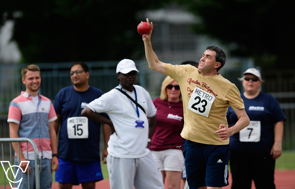 Metro Blind Sport's 2017 Athletics Open held at Mile End Stadium.  Shot put.  Tim Morrice<br /> <br /> Picture: Chris Vaughan Photography for Metro Blind Sport<br /> Date: June 17, 2017