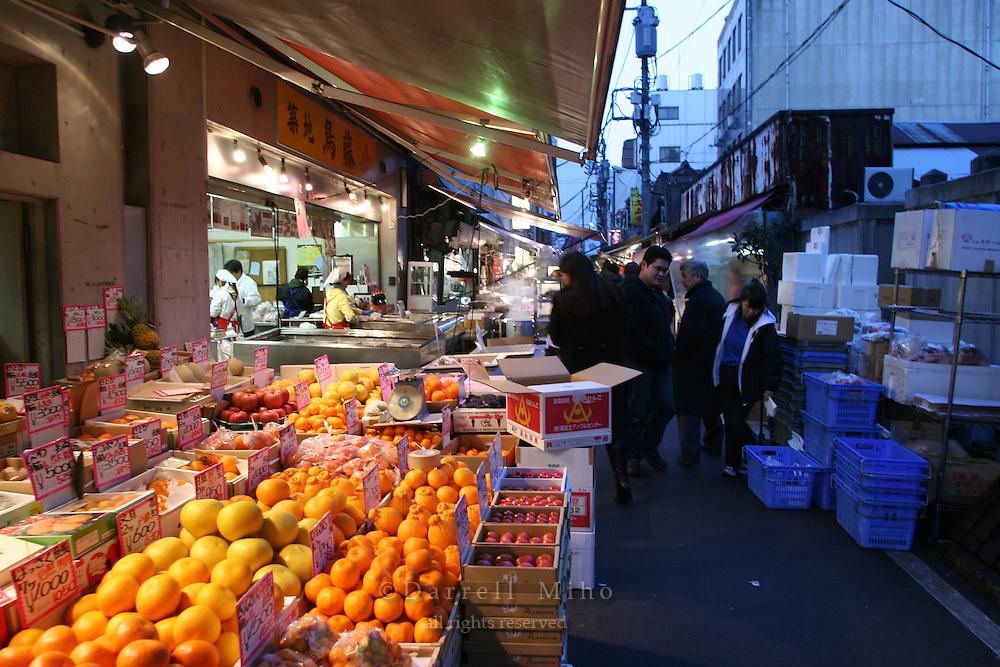 Mar 4, 2006; Tokyo, JPN; Tsukiji.Produce for sale at an outdoor market in Tsukiji...Photo credit: Darrell Miho