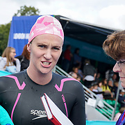 London, England, UK. 16th September 2017.Jazz Carlin winner of the Super six Swim Serpentine 2017 at Serpentine lake.