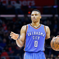 21 December 2015: Oklahoma City Thunder guard Russell Westbrook (0) brings the ball up court during the Oklahoma City Thunder 100-99 victory over the Los Angeles Clippers, at the Staples Center, Los Angeles, California, USA.
