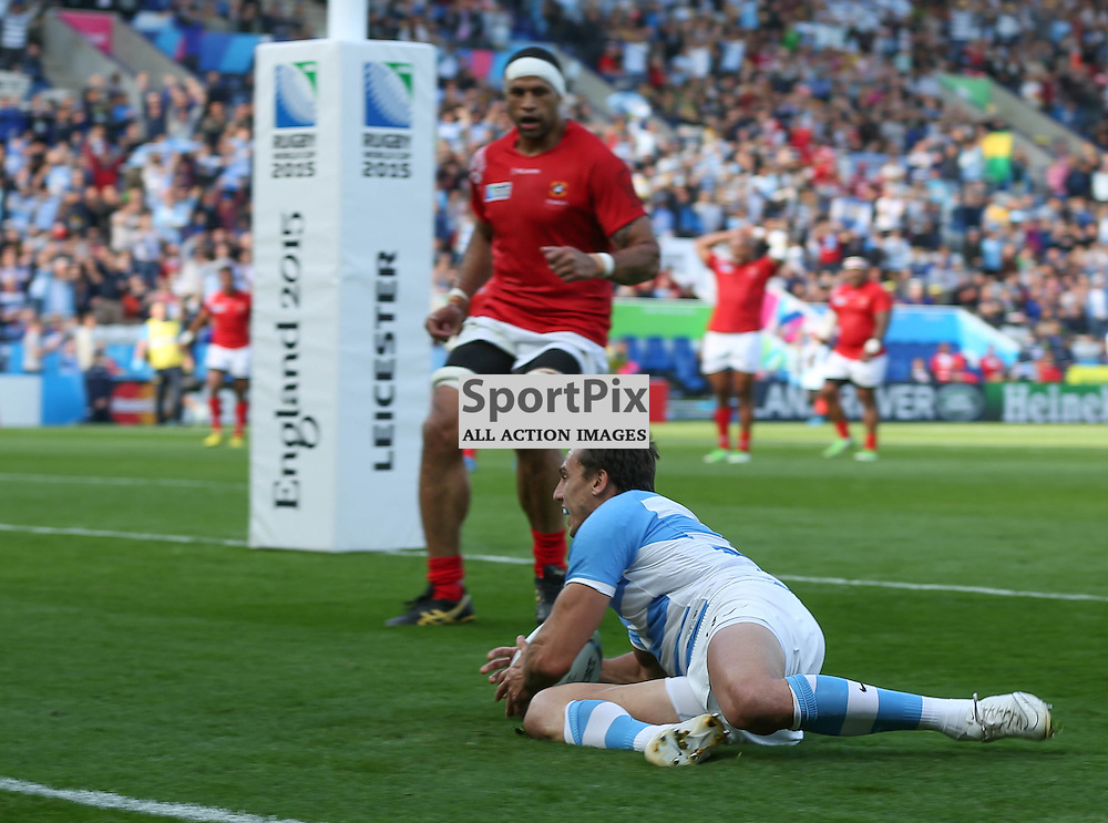 Juan Imhoff scores during the Rugby World Cup Argentina v Tonga, Sunday 04 October 2015, Leicester City Stadium, Leicester, England Stadium (Photo by Mike Poole - SportPix)