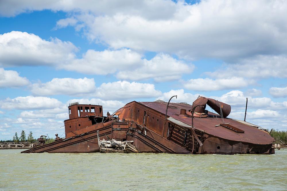 Canada, Manitoba, Shipwreck at mouth of Nelson River at entrance to Hudson Bay