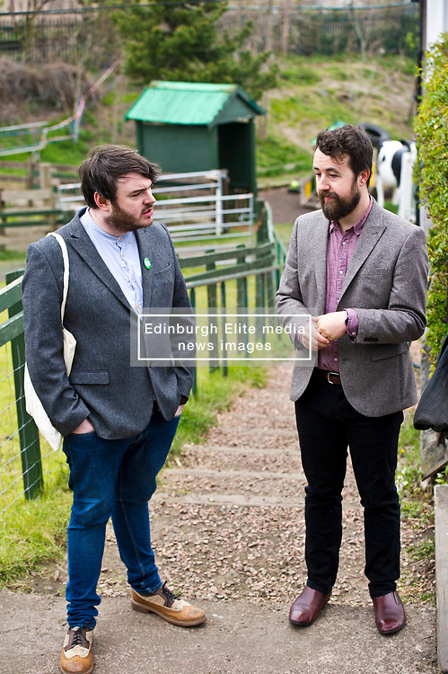 Pictured: Local Candidate Dan Heap and Gorgie City Farm Chief Executive Josiah Lockhart<br /> Scottish Greens on local election campaign trail. Mark Ruskell MSP, the party's environment spokesperson, joined candidate for the Sighthill/Gorgie ward Dan Heap on a visit to Gorgie city farm. The pair met Chief executive of the farm, Josiah Lockhart and Develoopment and fundraising manager, Sarah Campbell during their tour.<br /> <br /> <br /> Ger Harley   EEm 19 April 2017