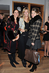 Left to right, ALANA EDMISTON, MARINA FOGLE and AMBER NUTTALL at the Linley Christmas party at Linley, 60 Pimlico Road, London on 20th November 2012.