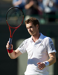 LONDON, ENGLAND - Tuesday, June 22, 2010: Andy Murray (GBR) celebrates after his Gentlemen's Singles 1st Round on day two of the Wimbledon Lawn Tennis Championships at the All England Lawn Tennis and Croquet Club. (Pic by David Rawcliffe/Propaganda)