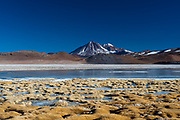 Laguna Tuyajto and Miniques Volcano, Atacama Desert, Chile.