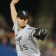 NEW YORK, NEW YORK - May 31:  Pitcher Nate Jones #65 of the Chicago White Sox pitching during the Chicago White Sox Vs New York Mets regular season MLB game at Citi Field on May 31, 2016 in New York City. (Photo by Tim Clayton/Corbis via Getty Images)