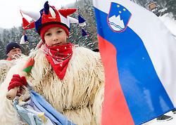 Slovenian fan dreesed in mascot kurent during Normal Hill Individual Competition at FIS World Cup Ski jumping Ladies Ljubno 2012, on February 12, 2012 in Ljubno ob Savinji, Slovenia. (Photo By Grega Valancic / Sportida.com)