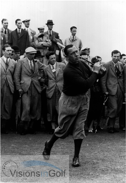 WALTER HAGEN - OPEN CHAMPIONSHIP 1929 AT MUIRFIELD DRIVING FROM THE TEE<br /> Picture Credit: ©Visions In Golf / Michael Hobbs