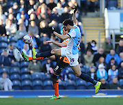 Rudy Gestede, Blackburn Rovers striker during the Sky Bet Championship match between Blackburn Rovers and Brighton and Hove Albion at Ewood Park, Blackburn, England on 21 March 2015.