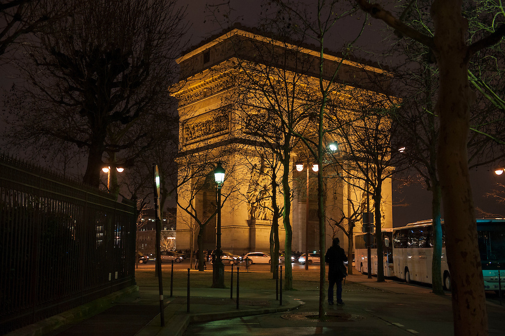 Arc de Triomphe at night, Paris. Paris feature, World War Two Magazine