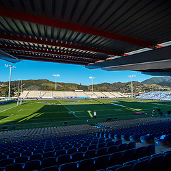 The suns sets before the Rugby Championship match between the New Zealand All Blacks and Argentina Pumas at Trafalgar Park in Nelson, New Zealand on Saturday, 8 September 2018. Photo: Dave Lintott / lintottphoto.co.nz
