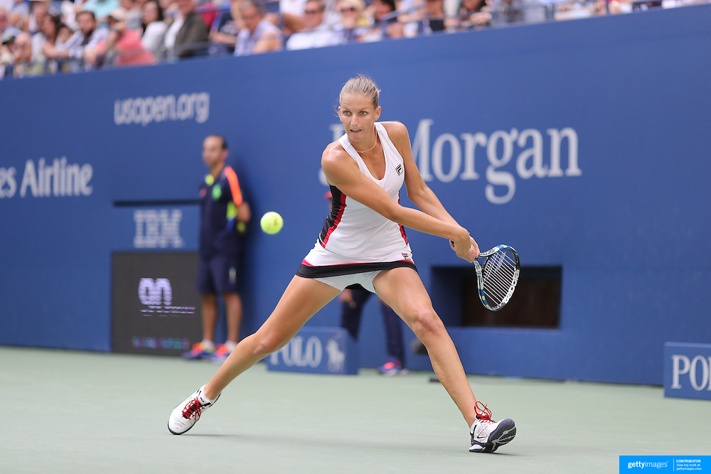 2016 U.S. Open - Day 8  Karolina Pliskova of the Czech Republic in action against Venus Williams of the United States in the Women's Singles round four match on Arthur Ashe Stadium on day six of the 2016 US Open Tennis Tournament at the USTA Billie Jean King National Tennis Center on September 5, 2016 in Flushing, Queens, New York City.  (Photo by Tim Clayton/Corbis via Getty Images)