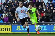 Derby County forward Chris Martin on the attack during the Sky Bet Championship match between Derby County and Huddersfield Town at the iPro Stadium, Derby, England on 5 March 2016. Photo by Aaron Lupton.