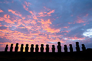 Sunrise and moais at Tongariki Beach, Easter Island, Chile
