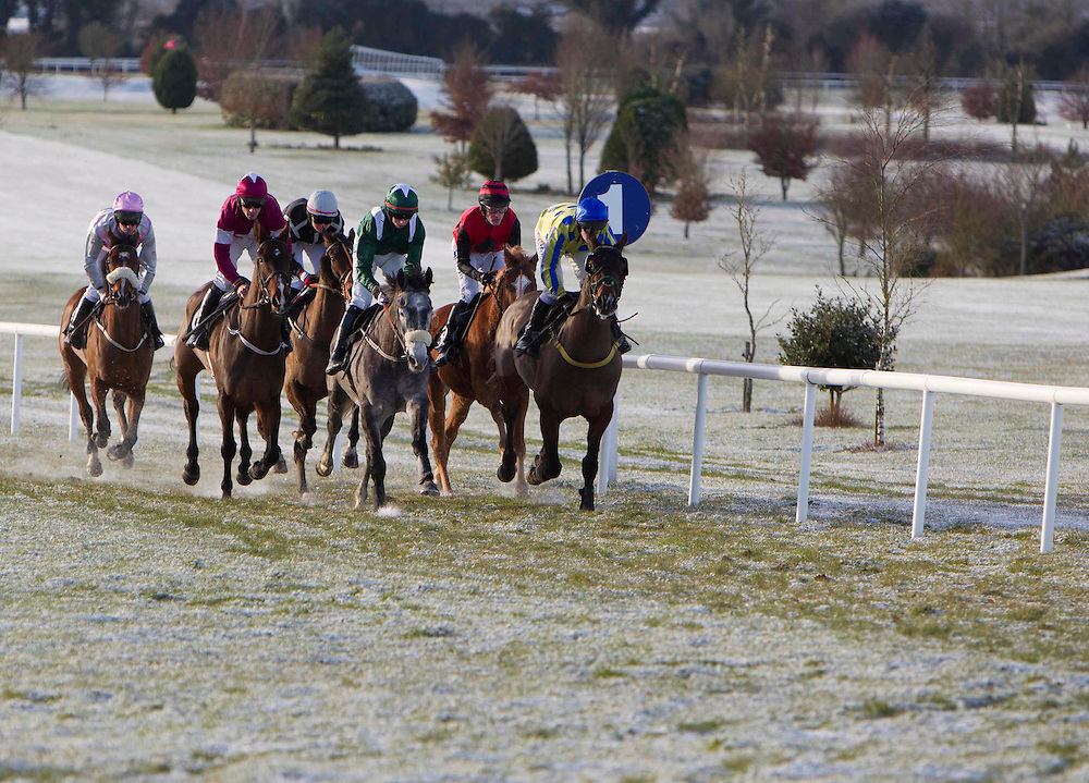 Racing at Navan 18/12/2010.Running on frozen ground, the field approach the final hurdle in the Philips Electronics Tara Hurdle.Photo: David Mullen /www.cyberimages.net
