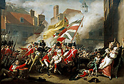 John Singleton Copley (1738 – 1815), The death of Major Peirsons, 1782-1784. France invaded Jersey in 1781. The  garrison commander, Major Peirson, rejected led a successful counter-attack but was killed