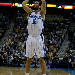 27 April 2009: New Orleans Hornets forward Peja Stojakovic (16) shoots during game four of the NBA Western Conference Quarterfinals playoffs between the New Orleans Hornets and the Denver Nuggets at the New Orleans Arena in New Orleans, Louisiana.